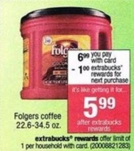 Folgers Coffee after Extrabucks Rewards