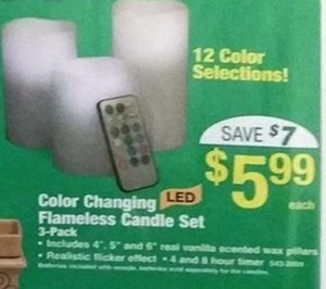 Color Changing Flameless Candle Set 3-Pack