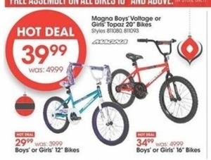 "Magna Boys' or Girls' 12"" Bikes"