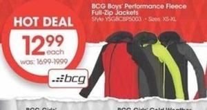 BCG Boys' Performance Fleece Full-Zip Jackets