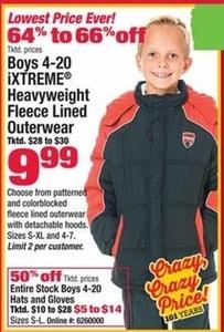 Boys 4-20 iXtreme Heavyweight Fleece Lined Outerwear