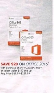 Office 2016 w/ Purchase of any PC, Mac, iPad or Select Tablet $150+