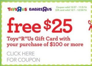 $25 TRU Gift Card with $100 Purchase