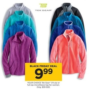 Tek Gear Women's  1/4 Zip or Full-Zip Microfleece Top