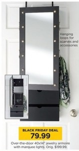 Over-the-Door Jewelry Armoire with Lights
