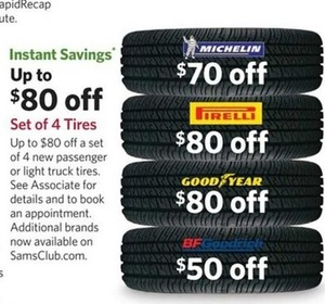 Set of 4 Tires from Michelin, Good Year & More