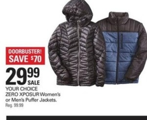 Xposur Women's or Men's Puffer Jackets