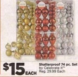 Celebrate It Shatterproof 74pc Ornament Set