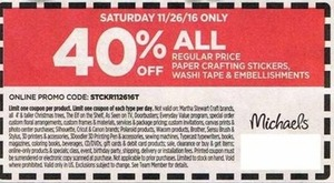 Regular Price Paper Crafting Stickers, Washi Tape, and Embellishments w/ Coupon