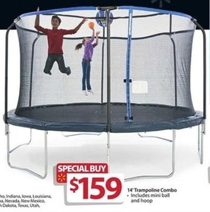 14' Trampoline Combo with Mini Ball and Hoop
