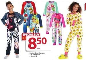 Boys' or Girls' Character 1 pc Sleepwear