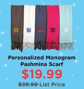 Personalized Monogram Pashmina Scarf