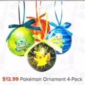 Pokemon 4 Pack Ornaments
