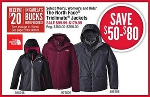 Select Men's, Women's and Kids' The North Face Triclimate Jackets
