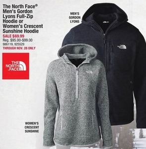 The North Face Men's Gordon Lyons or Women's Cresent Sunshine Hoodies
