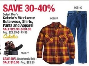 Cabela's Workwear Outerwear, Shirts, Pants & Apparel