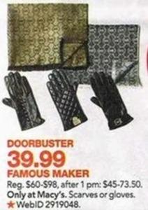 Famous Maker Scarves or Gloves