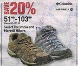 Select Columbia and Merrell Hikers