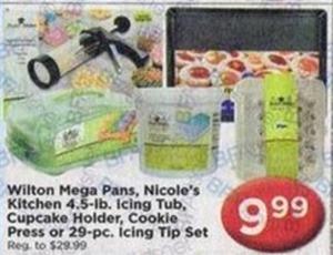 Wilton Mega Pans, 4.5lb. Icing Tub, Cupcake Holder, Cookie Press or 29PC Icing Tip Set