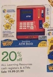 20% Off All Learning Resources Cash Registers and ATMs