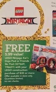 Free LEGO Ninjago Kai's Dojo Pod with $30 LEGO Order