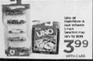 Uno or Matchbox 5pk or Hot Wheels