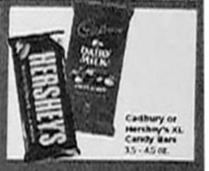 Hershey's XL Candy Bar or Cadbury Candy Bars