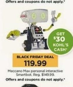 Meccano Max Personal Interactive Smartbot + $30 Kohl's Cash