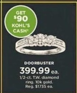 1/2 ct. Diamond Ring 10k gold + Get $90 Kohl's Cash
