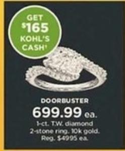 1-c.t. T.W. diamond 2-Stone 10K Gold Ring + $165 Kohl's Cash