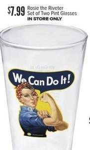 Rosie the Riveter Pint Glasses - Set of Two