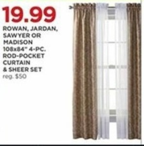"Rowan, Jardan, Sawyer, Or Madison 108x84"" 4-Pc. Rod-Pocket Curtain & Sheer Set"
