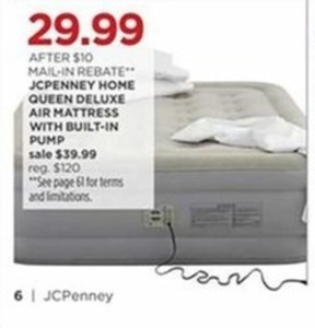 JcPenney Home Queen Deluxe Air Mattress w Built-In Pump After Rebate