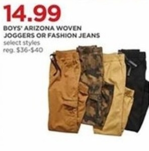 Arizona Boys' Woven Joggers or Fashion Jeans