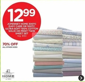 JCPenny Home 300Tc Easy Care Or 300 Tc Ultra Soft 100% Cottoid Or