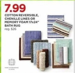 "Cotton Reversible, Chenille Lines Or Memory Foam 17x24"" Bath Rug"