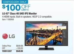 "LG 43UD79-B 43"" Ultra HD 4K IPS Monitor"
