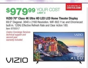 "Vizio 70"" Class 4K Ultra HD XLED Plus Home Theater Display"