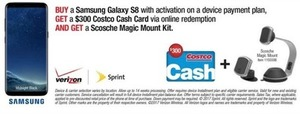 Samsung Galaxy S8 + $30 Costco Cash Card + Scosche Magic Mount Kit