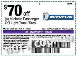 Coupon for 4 Michelin Passenger or Light Truck Tires