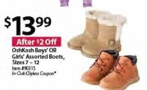 OshKosh Boys' or Girl's Assorted Boots, Sizes 7-12