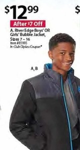 RiverEdge Boys' or Girls' Bubble Jacket, Sizes 7-16