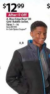 RiverEdge Boys' or Girls' Bubble Jacket, Sizes 7-16