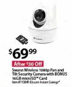 Swamm Wireless 1080p Pan & Tilt Security Camera + 16GB microSD Card