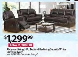 Abbyson Living 3-Piece Bedford Reclining Set