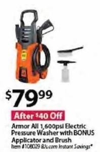 Armor All 1,600psl Electric Pressure Washer w/ bonus Applicator and Brush