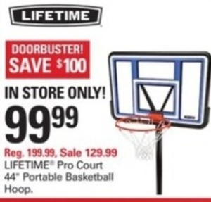 "Lifetime Pro Court 44"" Portable Basketball Hoop"