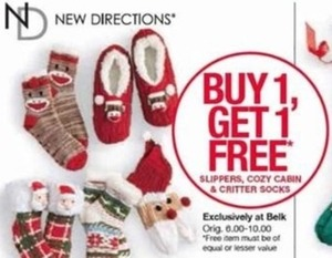 New Directions Slippers, Cozy Cabin and Critter Socks