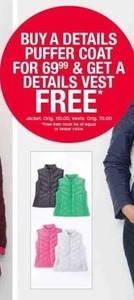 Free Vest w/ Puffer Coat Purchase