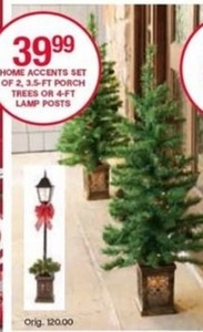 Home Accents Set of 2, 3.5ft Porch Trees of 4ft. Lamp Posts